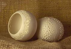 ceramic sea urchin candle holder. porcelain tea light by wapa
