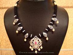 Black Thread Necklace with CZ Locket - Jewellery Designs Bead Jewellery, Beaded Jewelry, Beaded Necklace, Jewellery Designs, Necklace Designs, Gold Jewelry, Pendant Necklace, Temple Jewellery, Pendant Jewelry