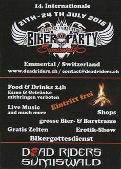Flyer Biker Party Sumiswald Biker Party, Crystal Ball, Comic Books, Image, Movie Posters, Erotica, Essen, Film Poster, Cartoons