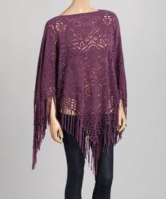 Look at this Purple Crochet Fringe Poncho on #zulily today!