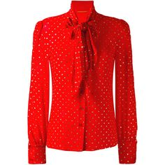 Saint Laurent Damen dot pattern pussybow blouse - reduziert ($1,540) ❤ liked on Polyvore featuring tops, blouses, bow collar blouse, dot blouse, bow neck blouse, red polka dot blouse and red top