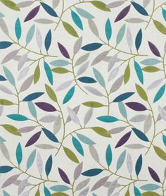 Pretty turquoise, lavender and purple leaf print on this Swavelle / Mill Creek Branching Out Calypso Fabric.