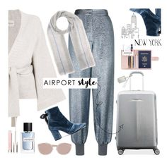 """Airport Style: To New York"" by imurzilkina ❤ liked on Polyvore featuring Le Kasha, STELLA McCARTNEY, self-portrait, Isabel Marant, Physicians Formula, Samsonite, Rebecca Minkoff, Yves Saint Laurent, Sunday Somewhere and airportstyle"
