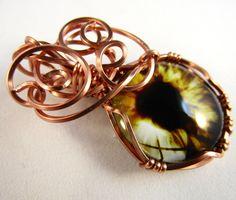 Yellow Evil Eye Pendant, Evil Eye Jewelry, Evil Eye Charm, Evil Eye Protection, Wire Wrapped Pendant by WireWizardz on Etsy