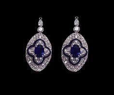 Diamond Earrings Sapphire And Diamond Earrings, Blue Sapphire, Jewelry, Jewlery, Jewerly, Schmuck, Jewels, Jewelery, Fine Jewelry