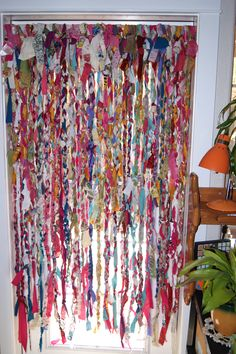 Sewing Curtains boho rag curtains - old sheets, tablecloths, curtains, lace and misc. fabric tied, braided and knotted make fun window coverings in my fiber arts studio.