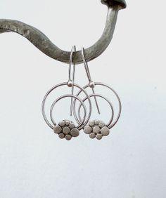Sterling Silver Earrings Flower Earrings Dangle by LaSe
