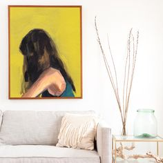 Portrait in Yellow . giclee art print by ClareElsaesser on Etsy