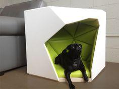 stylish coffee table for me and cozy den for the pooch. Geodog Dog House by Laser Lab Studio - Dog Milk Cat Design, Animal Design, Pet Beds, Dog Bed, Modern Dog Houses, Modern Homes, Shih Tzu, Dog Milk, Pet Furniture
