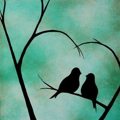 Sale - I Carry Your Heart - 12x12x1.5 Original love bird painting on canvas by Jodi Leigh. $95.00, via Etsy.