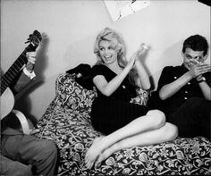 Brigitte Bardot during a break from filming La femme et le pantin (A Woman Like Satan), circa 1958.