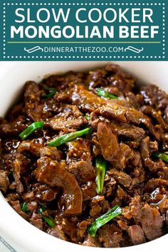 Slow Cooker Mongolian Beef Recipe Crock Pot Mongolian Beef Asian Beef Recipe Dinner at the Zoo Recipes Slow Cooker Mongolian Beef Recipe, Mongolian Beef Recipes, Crock Pot Slow Cooker, Crock Pot Cooking, Crock Pot Steak, Slow Cooker Steak, Mongolian Barbeque Recipe, Slow Cooker Meals, Crockpot Pepper Steak