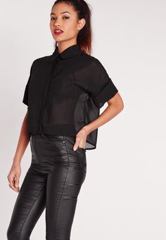 Join the crop crew and score some new in this cropped blouse. This versatile piece looks great dressed up or down and will take you from the boardroom to the bar. Pair with skinny jeans and heels for a sleek look.