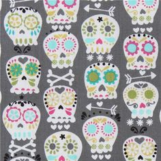 grey Michael Miller fabric colourful skulls bonehead  funny grey fabric with many colourful decorated skulls from the USA