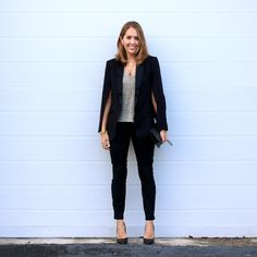 Cape blazer with black jeans