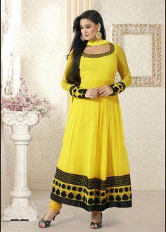 Shweta Tiwari Designer Anarkali Salwar Suit In Yellow . Shop at - http://gravity-fashion.com/16017-shweta-tiwari-designer-anarkali-salwar-suit-in-yellow.html