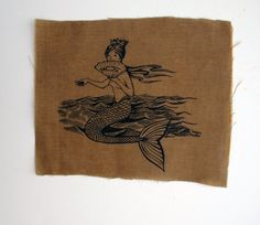 Mermaid Patch beeswaxed cotton by rabbitblast on Etsy, $5.00