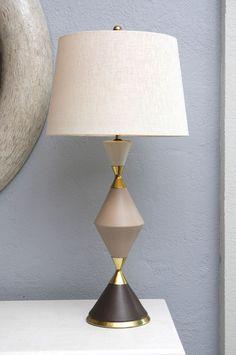 Gerald Thurston; Glazed Porcelain and Brass Table Lamp for Lightolier, c1950.
