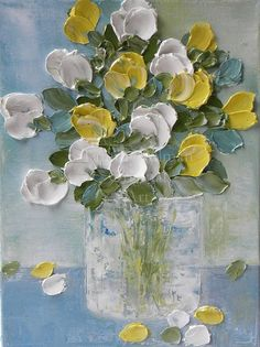 """Oil Painting impasto canvas painting """" White & Yellow Tulips """" Palette Knife Painting, Mothers Day, Wedding,"""