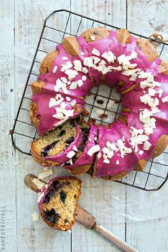 Blueberry-Coconut Banana Bread with blueberry glaze.