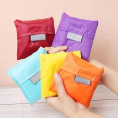 1 pc Square Pocket Shopping Bag Candy 7 colors Available Eco friendly Reusable Folding Handle Polyester Bag-in Shopping Bags from Luggage & Bags on Aliexpress.com | Alibaba Group