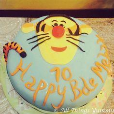 Cartoon Cakes - Winnie The Pooh Tigger Cake | Blue Fondant Cake with Winnie The Pooh Tigger | All Things Yummy #allthingsyummy #winniethepooh #tigger #cartoon #cakes