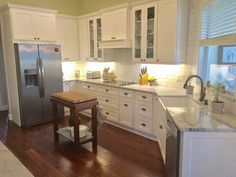 White Kitchen Maple Floors wallace kitchen after)- white shaker cabinetry, granite: thunder