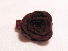 Velcro Hair Clip  Felt Rose  Brown  Toddler by TurtleTotsDesigns, $3.00