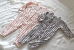 Baby onesie, with matching jacket, knitted top down