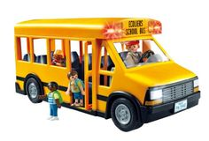 Children can use the bus to transport Playmobil figures from school to home Front and rear lights really work and there is plenty of seating for all 4 figures Playmobil is the largest toy manufacturer in Germany.   toys4mykids.com