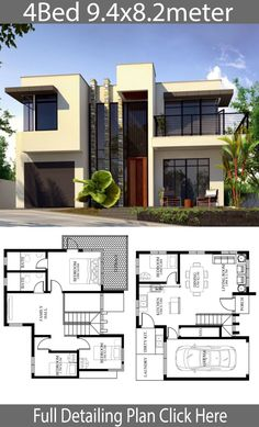 Sims 3 Modern House Ideas Awesome Small Home Design Plan 9 with 4 Bedrooms Modern House Floor Plans, Home Design Floor Plans, Duplex House Plans, Home Building Design, Dream House Plans, Two Story House Design, 2 Storey House Design, Bungalow House Design, Small House Design
