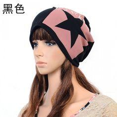 black cotton five-pointed star pattern hat