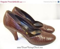 """Holy cow, if could only wear 3.25"""" heels ,well & they were bigger .. ALady . 50% Off New Years Sale Vintage Lizard Skin by DenasVintageCloset"""