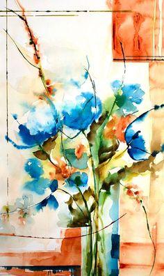 Rhapsody in blue (Peinture), 50x30 cm par Véronique Piaser-Moyen Aquarelle originale sur papier 300 G