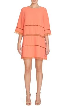 CeCe by Cynthia Steffe 'Abigail' Lace Trim Crepe Shift Dress available at #Nordstrom