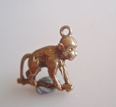 9ct Gold Monkey on a Stick Charm by TrueVintageCharms on Etsy