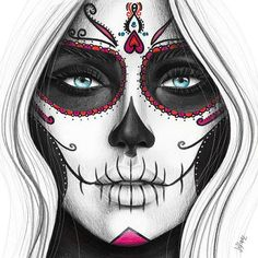 Day of the Dead art print from original pencil illustration. Pencil drawing of a woman's face. Day of the dead illustration of painted face. - Day of the Dead art print from original pencil illustration. Pencil drawing of a woman's face. Day Of The Dead Drawing, Day Of The Dead Artwork, Day Of The Dead Girl, Day Of The Dead Tattoo For Women, Day Of Dead, Sugar Skull Mädchen, Sugar Skull Makeup, Sugar Skull Tattoos, Sugar Skull Artwork