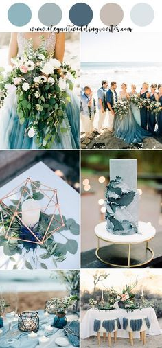 romantic shades of blue summer beach wedding color ideas wedding colors summer Top 10 Gorgeous Blue Wedding Color Combos for 2019 Beach Wedding Colors, Beach Wedding Decorations, Wedding Favors, Wedding Bouquets, Wedding Cakes, Wedding Beach, Beach Color, Summer Beach Weddings, Wedding Venues