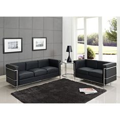 Modway Furniture  LC2 Sofa Set in Black - EEI-879
