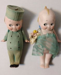 2 Kewpies Bisque 4 Inch SEA GREEN OUTFITS FABRIC AND CREPE PAPER Blue Wings VTG #Dolls