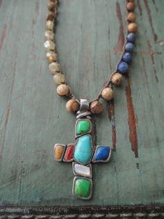 EASTER SALE Colorful Sterling silver cross crochet necklace - De Colores - multi color semi precious stone southwestern spiritual slashKnots
