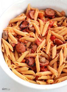 Quick and Easy Cajun Sausage Pasta -- thehappytulip.com