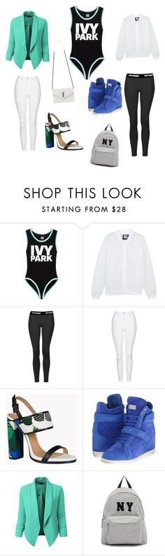 """I slay day & night! #beyonce #slay #ivypark"" by patty-fontizard ❤ liked on Polyvore featuring Ivy Park, Topshop, Dsquared2, Philipp Plein, LE3NO, Joshua's and Yves Saint Laurent"