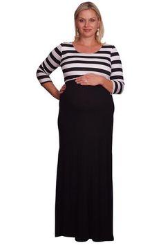 0a5e179e024a7 Striped and Solid Plus Maternity Maxi Affordable Maternity Clothes, Plus  Size Pregnancy, Maternity Maxi