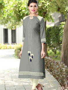 Salwar Neck Designs, Kurta Neck Design, Kurta Designs Women, Kurta Patterns, Dress Patterns, Ladies Kurti Design, Simple Kurta Designs, Kurti Embroidery Design, Kurti Designs Party Wear