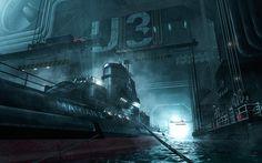 submarine scene 03 on Behance