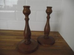 Decorative Pair of Vintage Oak Candlesticks - Perfect for Softly Lit Christmas Nights. £20.00, via Etsy.