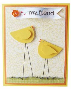 Easter Peeps - would be a simple Easter card for children to make.