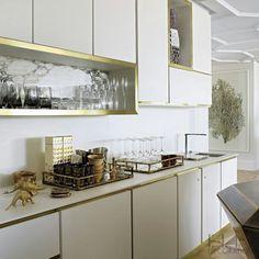 ELLE DECORATION  White units + brass trim and plinths = a new, luxurious twist on the metallic kitchens trend #EDUKJuly15