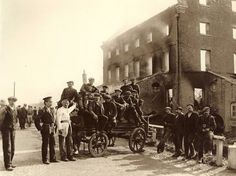 Whitby Fire Brigade and appliance at Ruswarp Flour Mill - Whitby - North Yorkshire - England - 24 September 1911